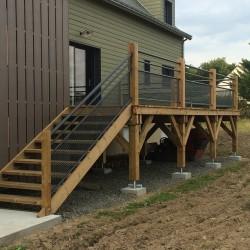 escalier bois terrasse maison ossature bois