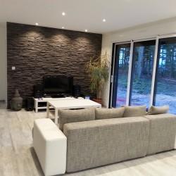 aménagement intérieur - salon - baie vitré - pierre apparente